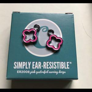 PINK quatra-foil earring drops